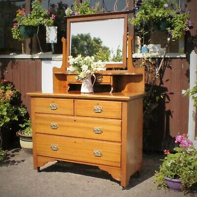 £135 • Buy Edwardian Antique Dressing Chest Table With Mirror