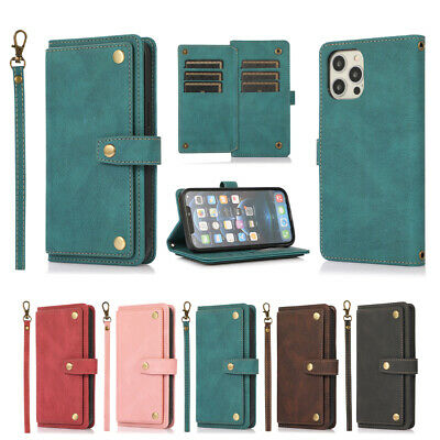 AU4.99 • Buy Multi-Card Wallet Case Leather Flip Cover For IPhone 12 11 Pro Max XR XS SE 7 8