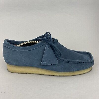 £66.69 • Buy Clarks Originals Wallabee Blue Leather Suede Lace Smart Casual Moc Shoes UK9.5G