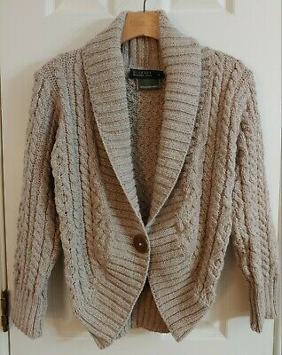 £29.09 • Buy Blarney Woollen Mills Merino Wool Cable Knit One Button Taupe Sweater Shrug Sz S