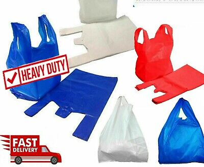 £5.99 • Buy All Sizes & Colours Strong Plastic Vest Carrier Bags For Supermarkets Stalls New