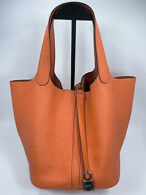 AU3900 • Buy Hermes Picotin Lock 22 Clemence Feu With Palladium Plated Hardware Tote Bag