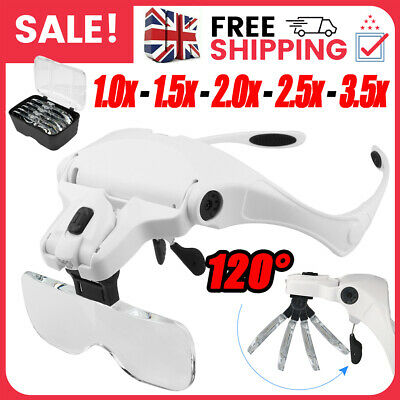 £12.39 • Buy Magnifying Glasses LED Headband With Light Hands Free Headset Magnifier With Box