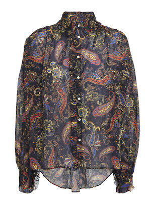 £109.08 • Buy MAJE Calista Ruffle-trimmed Printed Cotton-Voile Shirt Size 0 NWT