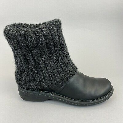 £34.89 • Buy Clarks Artsian Black Leather Knitted Ankle Pull On Warm Boho Winter Boots UK4 D