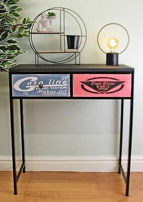 AU224.48 • Buy Black Console Table With 2 Drawers Retro Design Drawers Home Storage Furniture