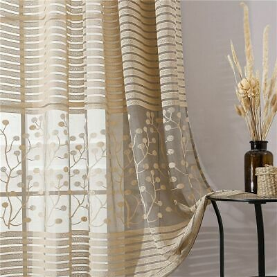 £21.18 • Buy Modern Shade Stripe Curtains Net Window Sheer Blinds Treatments Fabric Accessory
