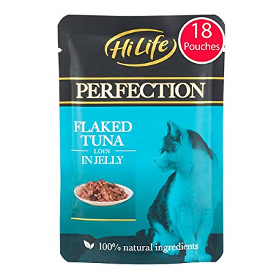 £16.59 • Buy HiLife Perfection - Wet Cat Food - Flaked Tuna Loin In Jelly - Natural Grain 18