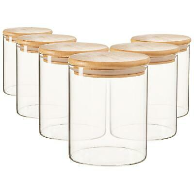 £19.99 • Buy 6x Scandi Glass Storage Jars With Wooden Lids Kitchen Pantry Food Canister 750ml