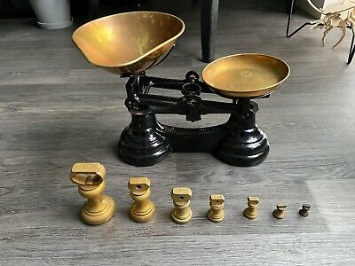 £36.50 • Buy Librasco Black Cast Iron & Brass Kitchen Scales & Set Of Bell Weights