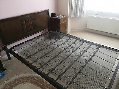 £80 • Buy Antique 1940s 'utility' Iron And Wood, Sprung Base Double Bed Frame
