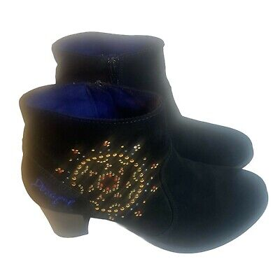 £28.91 • Buy Desigual Suede Ankle Boots  EU 38 US 7.5 8 Booties  Black Colorful Embroidered