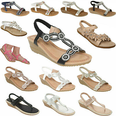 £9.95 • Buy Womens Ladies Sandals Sling Back Gladiator Mid Low Wedge Summer Beach Shoes Size