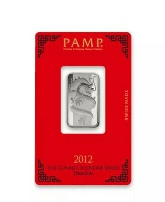 £35.99 • Buy PAMP Suisse Lunar Year Of The Dragon 2012 10 G Gram .999 Silver Bar (in Assay)