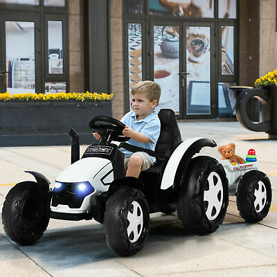 £169.99 • Buy Kids Tractor And Trailer 12V Electric Children Ride On Toy Car W/ Remote Control