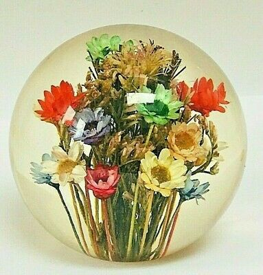 £22 • Buy Hafod Grange Mixed Flora  Preserved Flower  Resin Paperweight Signed 1999 Boxed