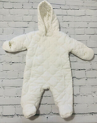 £6.99 • Buy Baby Unisex Clothes 0-3 Months Quilted Snowsuit Pramsuit *We Combine Postage*