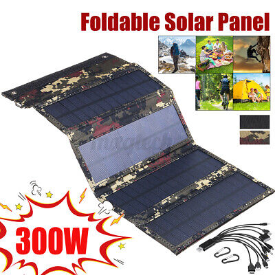 £18.59 • Buy 300W Solar Panel Folding Portable Power Charger USB Camping Travel Phone Charger