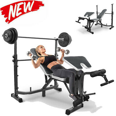 £99.99 • Buy Multi Adjustable Olympic Weight Bench Press With Squat Rack For Home Gym Workout