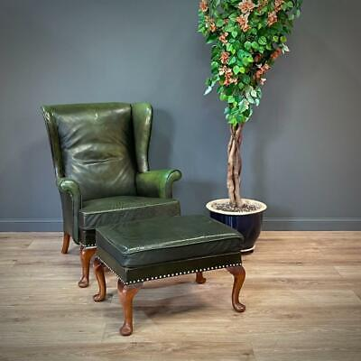 £495 • Buy Attractive Vintage Parker Knoll Green Leather Wingback Armchair & Stool