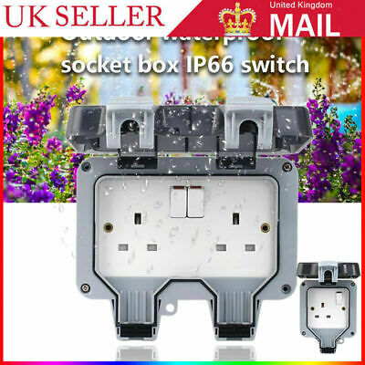 £6.99 • Buy Waterproof Outdoor Double Pole Switched Socket Box Electrical External Safe Plug