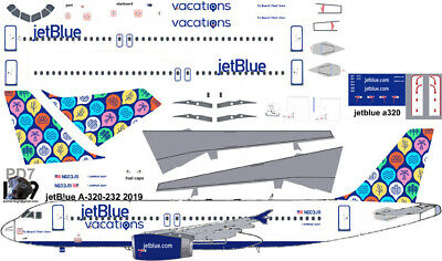 £7.26 • Buy JetBlue Vacations Airbus A-320 Pointerdog7  Decals For Revell 1/144 Kit