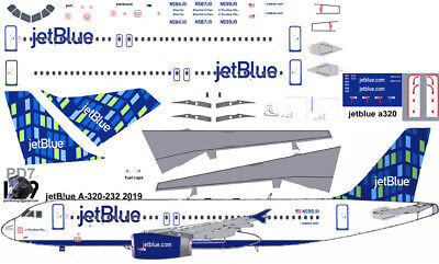 £7.26 • Buy JetBlue High Rise Airbus A-320 Pointerdog7  Decals For Revell 1/144 Kit