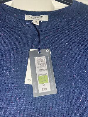 £37.50 • Buy M&S Autograph Cashmere Jumper In Navy Mix Size 12 New With Tags