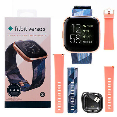 AU189.90 • Buy Fitbit Versa 2 Special Edition Health &Fitness Smartwatch Navy & Pink Woven NEW