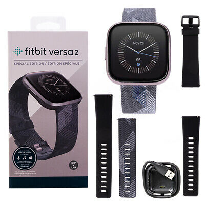 AU189.90 • Buy Fitbit Versa 2 Special Edition HR Smartwatch FB507GYGY Iron Mist Charcoal Woven