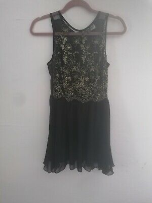 £5.40 • Buy Evening Party Dress UK 8, Hearts & Bows, Delicate Black Mesh Top Gold Embroidery