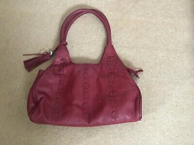 £20 • Buy Marks & Spencer M&s Autograph Slouchy Soft Red Leather Hobo Bag Tassel Pockets