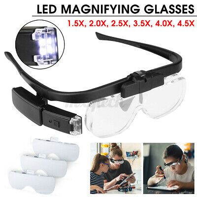 £14.59 • Buy LED Head Magnifying Glasses Headset With Light Hands Free Headband Magnifier Lam