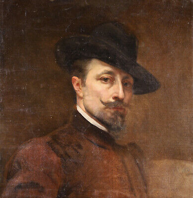 £227 • Buy 1889 Large French Impressionist Oil On Canvas - Portrait Of Gentleman