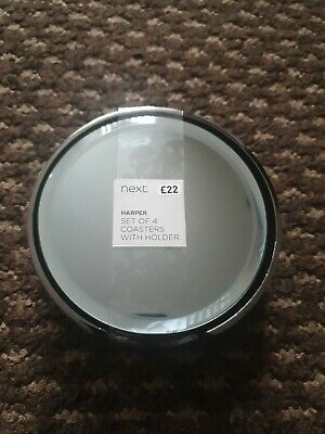 £10 • Buy Brand New Mirrored Next Harper Set Of 4 Mirror Coasters With A Black Gem Holder