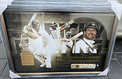 AU495 • Buy Signed Ricky Ponting Mini Bat Display With A COA Framed Superbly And Looks Great