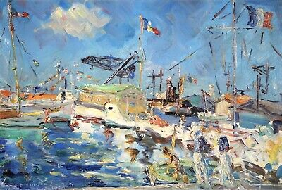 £77 • Buy Rene Grandidier (1904-1972) Signed 1951 French Oil Board - Toulon Harbour