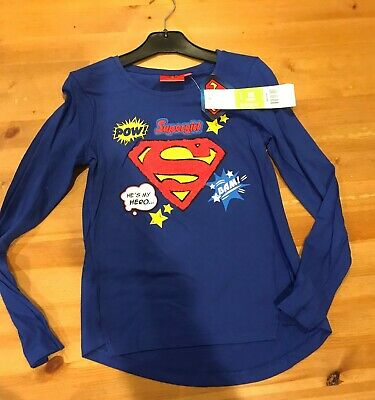 £4 • Buy Supergirl Long Sleeve Top - Navy - Size Age 10/140cms