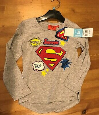 £4 • Buy Supergirl Long Sleeve Top - Grey - Size Age 6/116cms