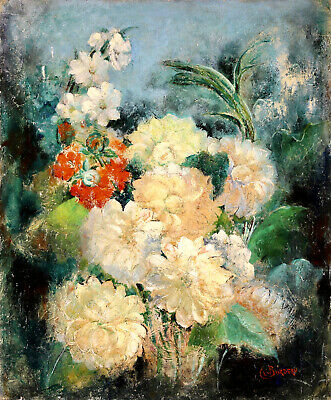 £56 • Buy Clemence Burdeau (1891-1983) Large Signed French Oil Canvas - Flowers In Vase