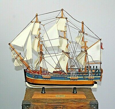 £33.62 • Buy HMS Endeavour Wooden Nautical Model On Stand Sailing Ship Linen Sails Rigging