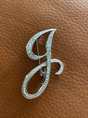 £3.25 • Buy Letter J Brooch Pin Diamonte Silver Tone New From UK