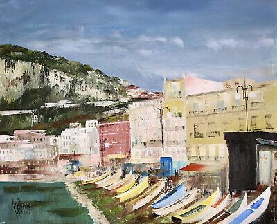 £76 • Buy Claude Charroy (1931-2020) Signed French Oil Canvas Boast Harbour Cote D'azur