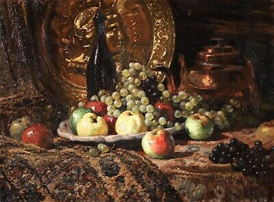 £94 • Buy Charles Lacour (1861-1941) Large Signed French Oil Canvas Still Life Fruits