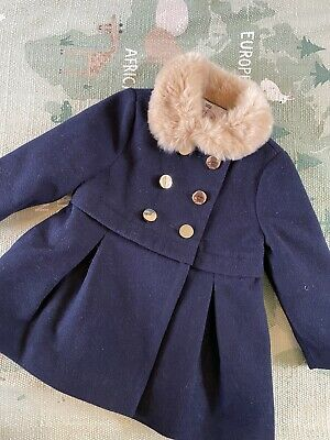 £3.49 • Buy Girls Smart Coat 12-18 Months F&F - Navy, Fur Collar, Gold Buttons And Lining