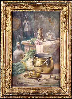 £93.99 • Buy Maurice Monnot (1869-1937) Signed French Oil Canvas Still Life Kitchen Interior