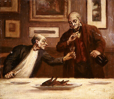 £155 • Buy 19th CENTURY FRENCH OIL ON CANVAS - MEN TAKING DINNER - HONORE DAUMIER