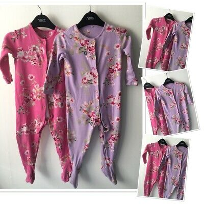 £4.50 • Buy Next Baby Girls Floral Brights Sleepsuits Babygrows  9-12 Months