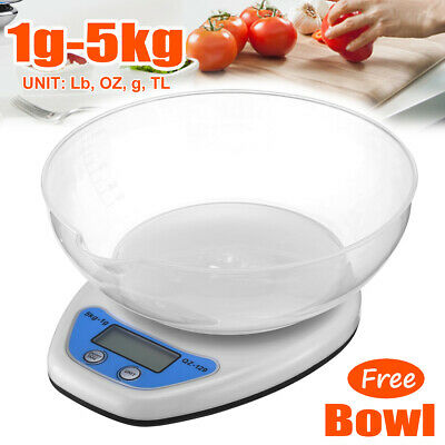£2.99 • Buy LCD DIGITAL KITCHEN SCALES W/ Bowl ELECTRONIC COOKING FOOD WEIGH MEASURING SCALE