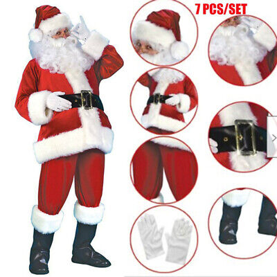 £21.99 • Buy Santa Claus Costume Father Outfit Christmas Flannel Suit Mens Fancy Dress IA